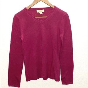 Peck & Peck Small 100% Cashmere Pink V-Neck